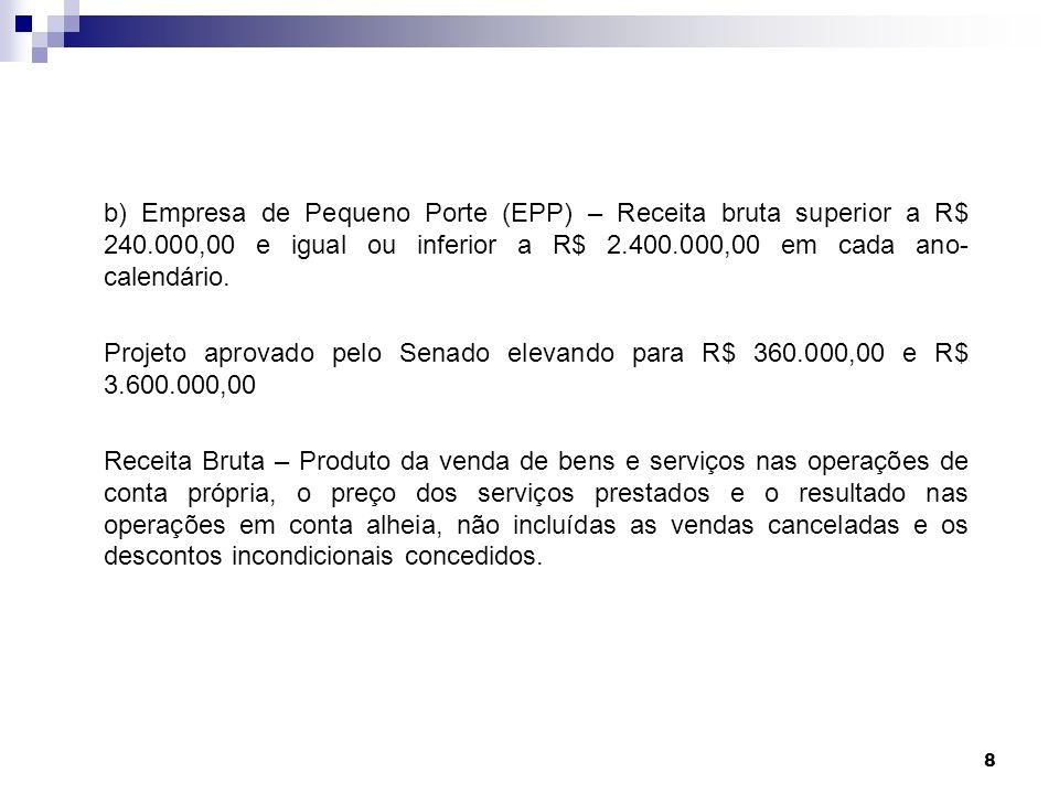 8 b) Empresa de Pequeno Porte (EPP) – Receita bruta superior a R$ 240.000,00 e igual ou inferior a R$ 2.400.000,00 em cada ano- calendário. Projeto ap