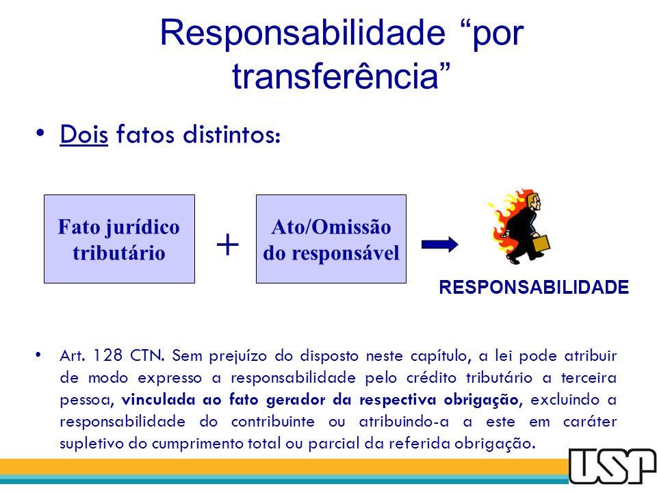 Dois fatos distintos: Art. 128 CTN. Sem prejuízo do disposto neste capítulo, a lei pode atribuir de modo expresso a responsabilidade pelo crédito trib