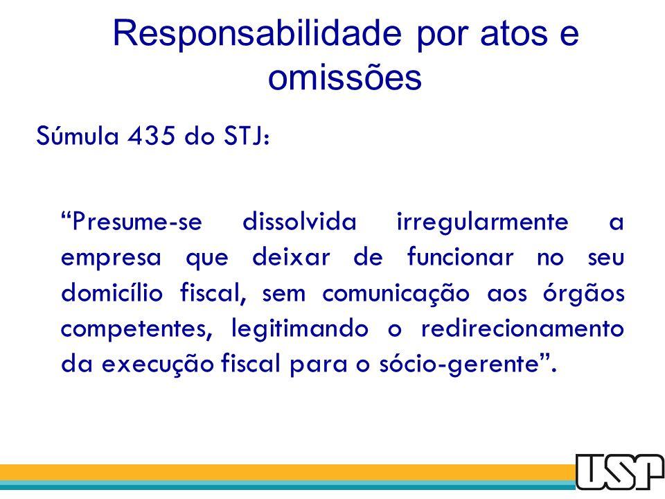 Responsabilidade por atos e omissões Súmula 435 do STJ: Presume-se dissolvida irregularmente a empresa que deixar de funcionar no seu domicílio fiscal