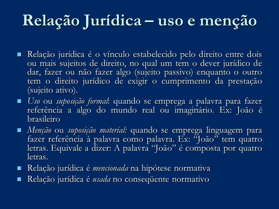 Relação Jurídica – uso e menção Relação jurídica é o vínculo estabelecido pelo direito entre dois ou mais sujeitos de direito, no qual um tem o dever