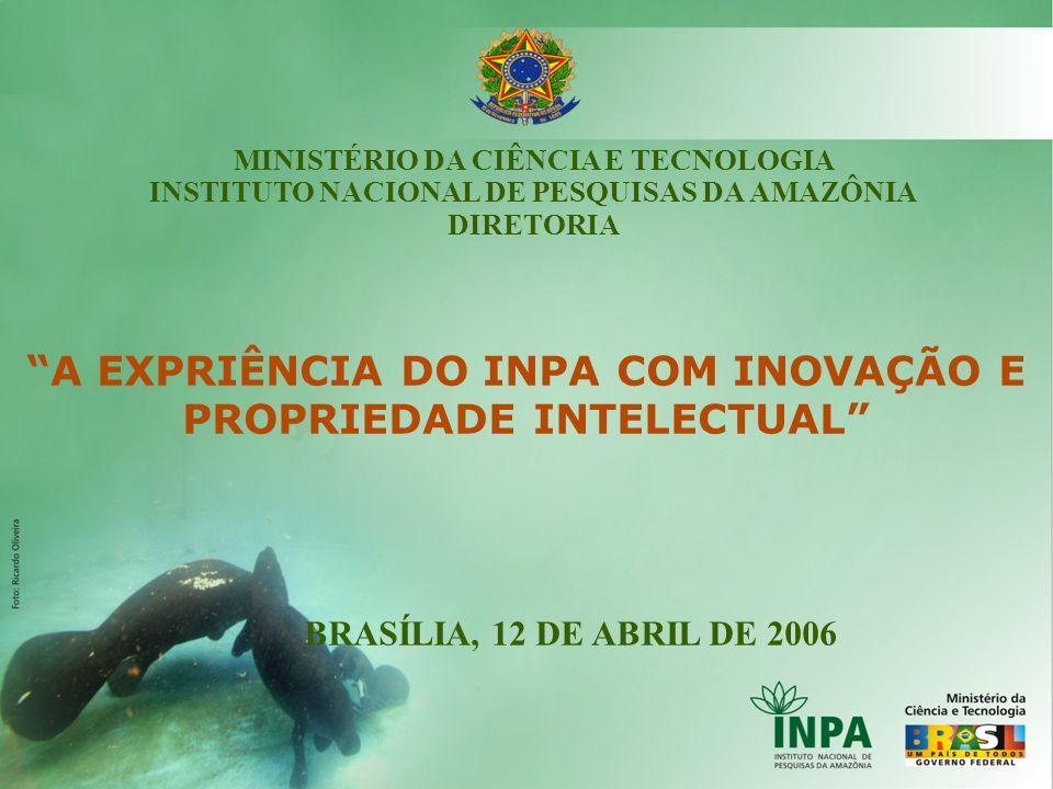 A EXPRIÊNCIA DO INPA COM INOVAÇÃO E PROPRIEDADE INTELECTUAL BRASÍLIA, 12 DE ABRIL DE 2006 MINISTÉRIO DA CIÊNCIA E TECNOLOGIA INSTITUTO NACIONAL DE PES