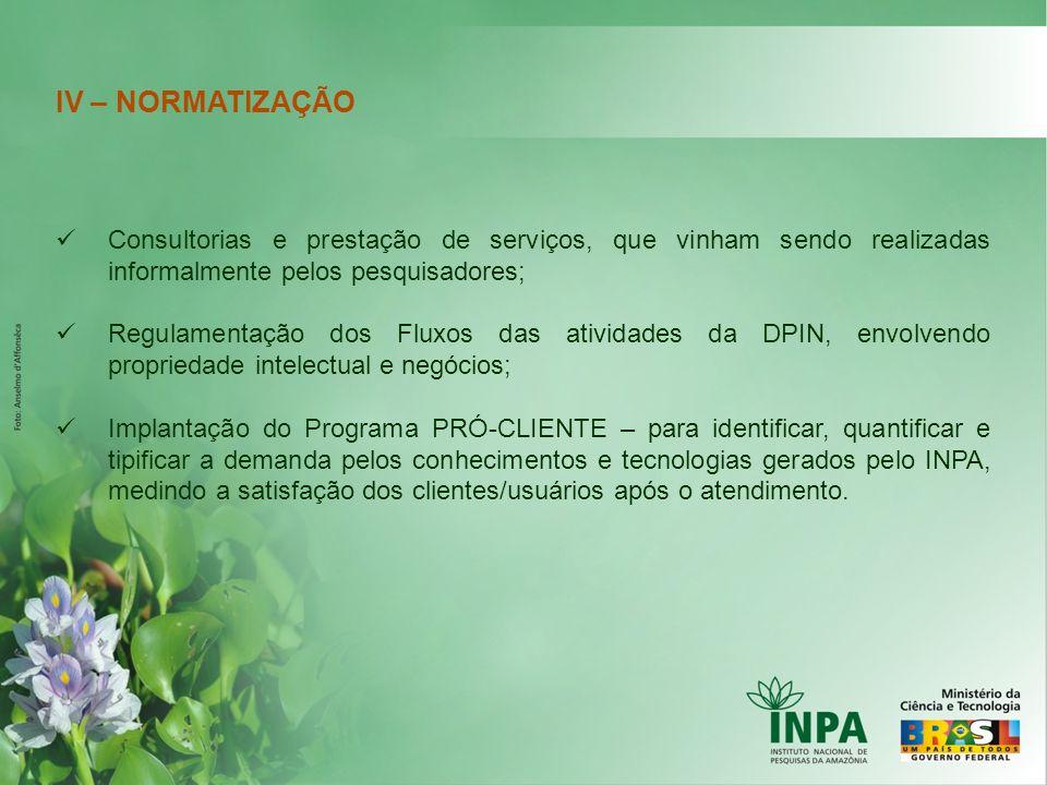 IV – NORMATIZAÇÃO Consultorias e prestação de serviços, que vinham sendo realizadas informalmente pelos pesquisadores; Regulamentação dos Fluxos das a