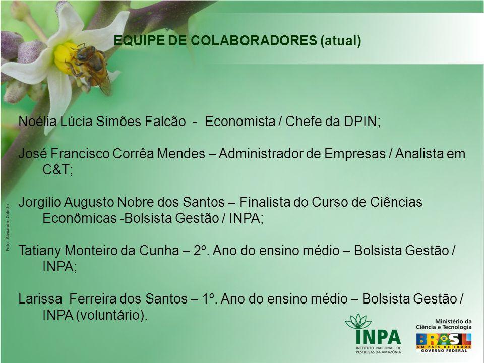 EQUIPE DE COLABORADORES (atual) Noélia Lúcia Simões Falcão - Economista / Chefe da DPIN; José Francisco Corrêa Mendes – Administrador de Empresas / An