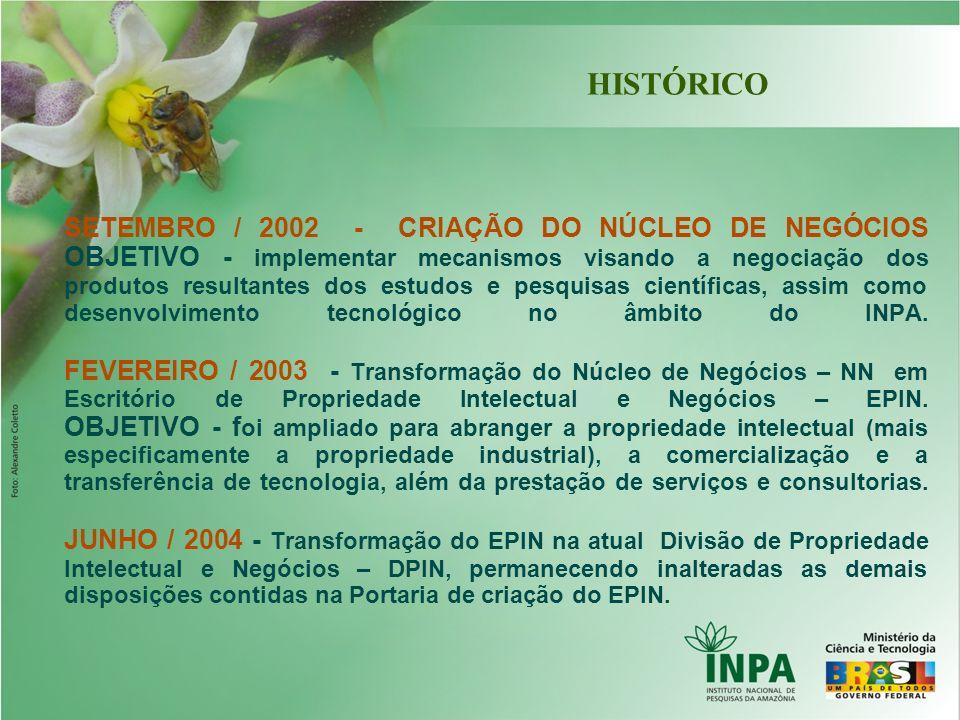 SETEMBRO / 2002 - CRIAÇÃO DO NÚCLEO DE NEGÓCIOS OBJETIVO - implementar mecanismos visando a negociação dos produtos resultantes dos estudos e pesquisa