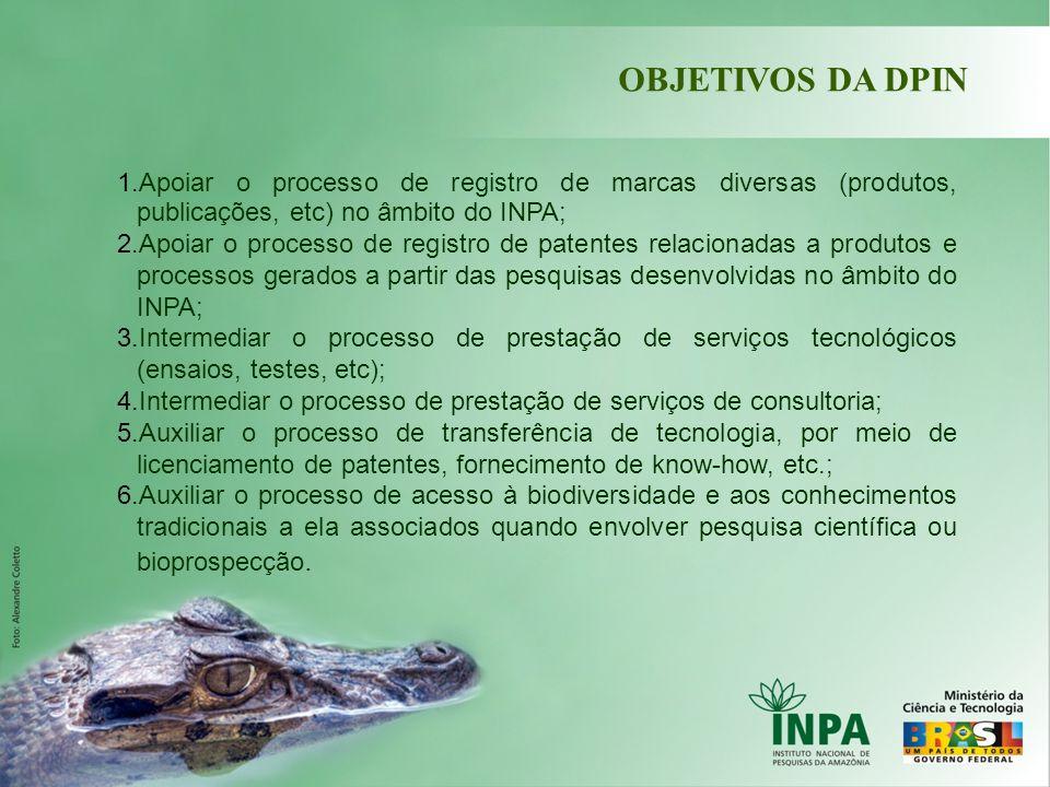OBJETIVOS DA DPIN 1.Apoiar o processo de registro de marcas diversas (produtos, publicações, etc) no âmbito do INPA; 2.Apoiar o processo de registro d