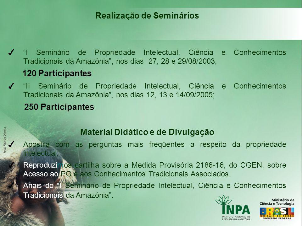 Realização de Seminários I Seminário de Propriedade Intelectual, Ciência e Conhecimentos Tradicionais da Amazônia, nos dias 27, 28 e 29/08/2003; 120 P