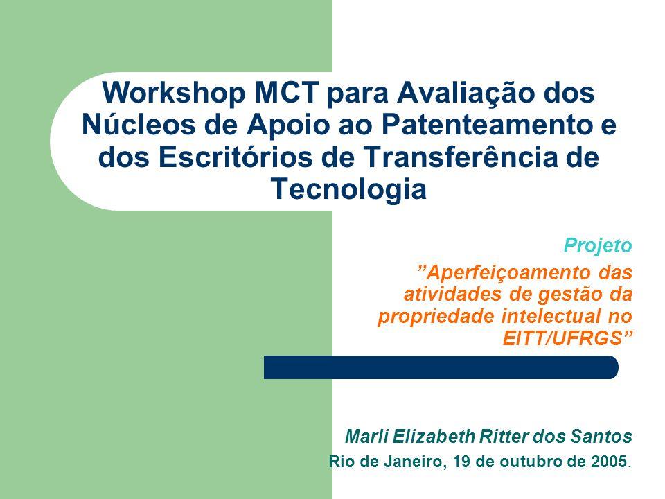 Workshop MCT para Avaliação dos Núcleos de Apoio ao Patenteamento e dos Escritórios de Transferência de Tecnologia Projeto Aperfeiçoamento das ativida