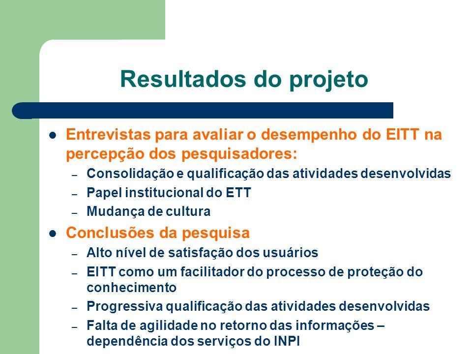 Entrevistas para avaliar o desempenho do EITT na percepção dos pesquisadores: – Consolidação e qualificação das atividades desenvolvidas – Papel insti