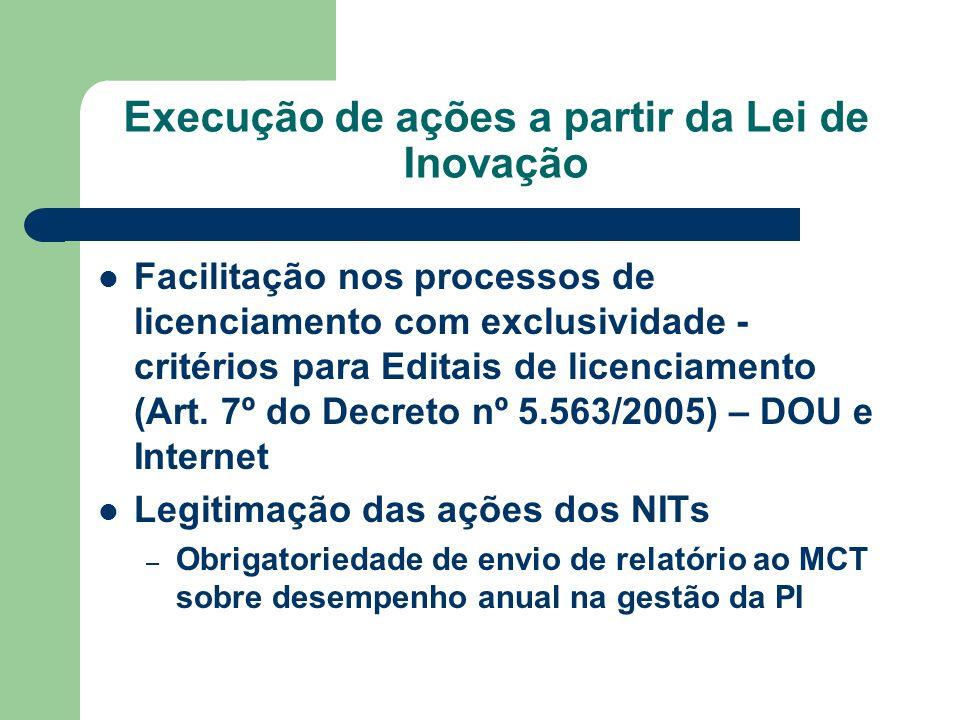 Execução de ações a partir da Lei de Inovação Facilitação nos processos de licenciamento com exclusividade - critérios para Editais de licenciamento (