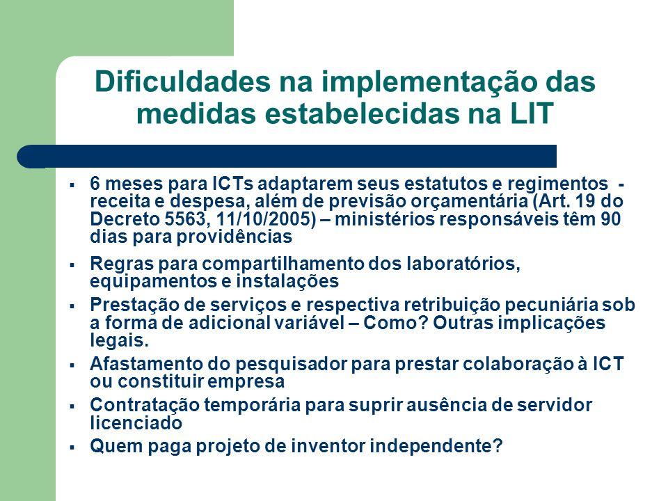 Dificuldades na implementação das medidas estabelecidas na LIT 6 meses para ICTs adaptarem seus estatutos e regimentos - receita e despesa, além de pr