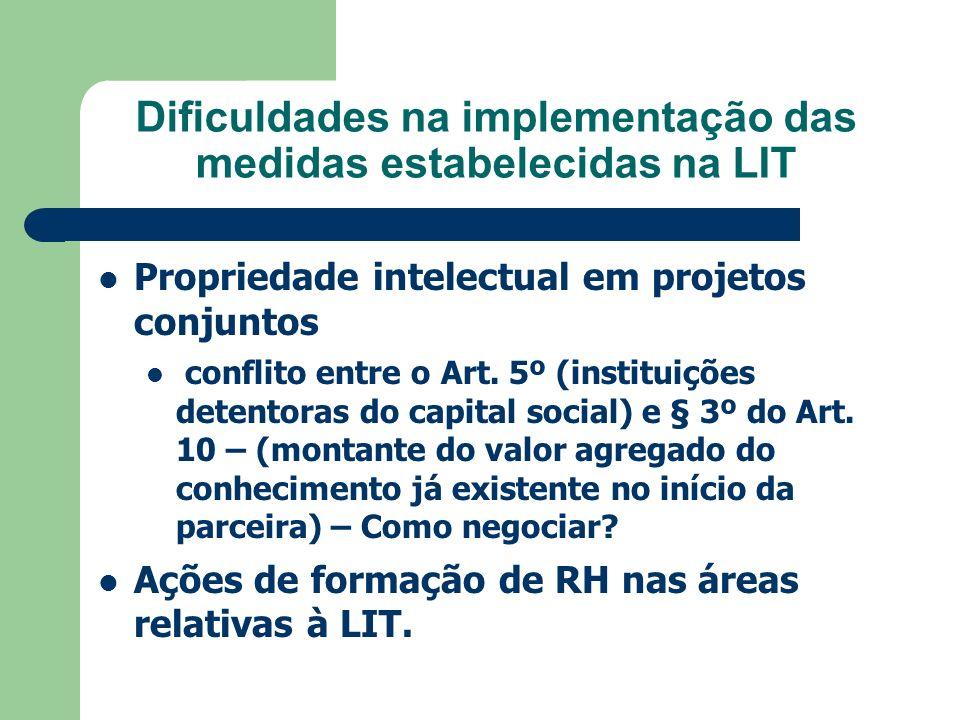 Dificuldades na implementação das medidas estabelecidas na LIT Propriedade intelectual em projetos conjuntos conflito entre o Art. 5º (instituições de