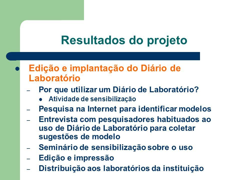 Resultados do projeto Edição e implantação do Diário de Laboratório – Por que utilizar um Diário de Laboratório? Atividade de sensibilização – Pesquis