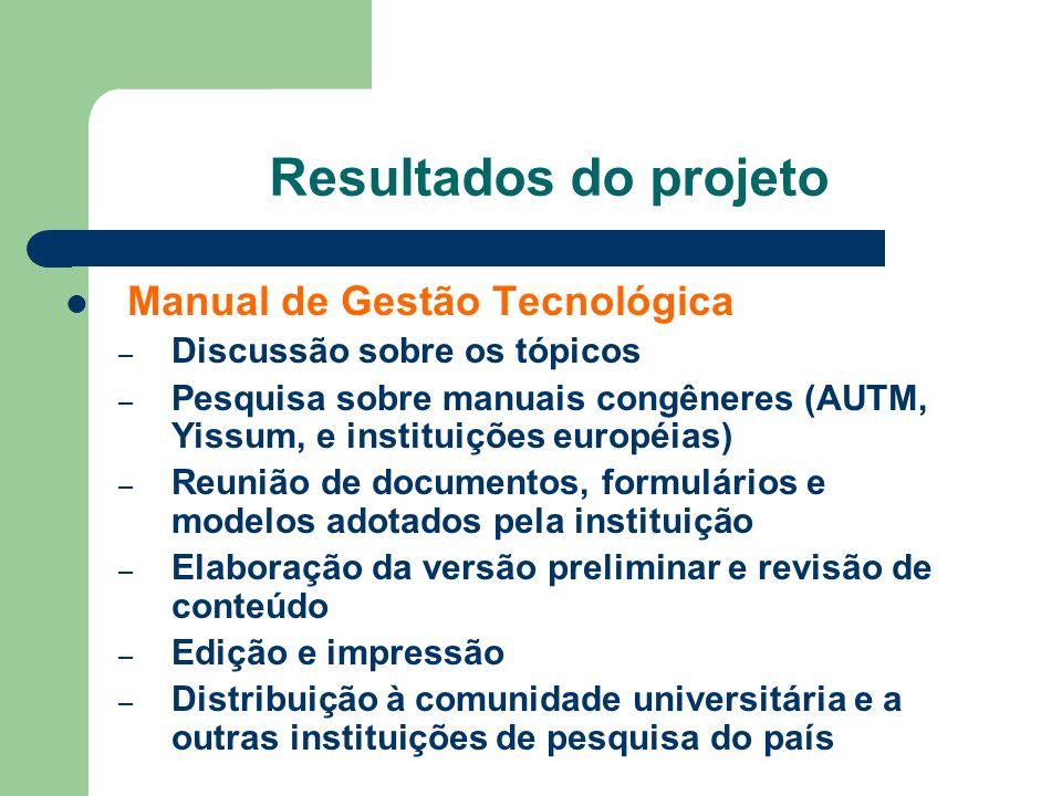 Resultados do projeto Manual de Gestão Tecnológica – Discussão sobre os tópicos – Pesquisa sobre manuais congêneres (AUTM, Yissum, e instituições euro