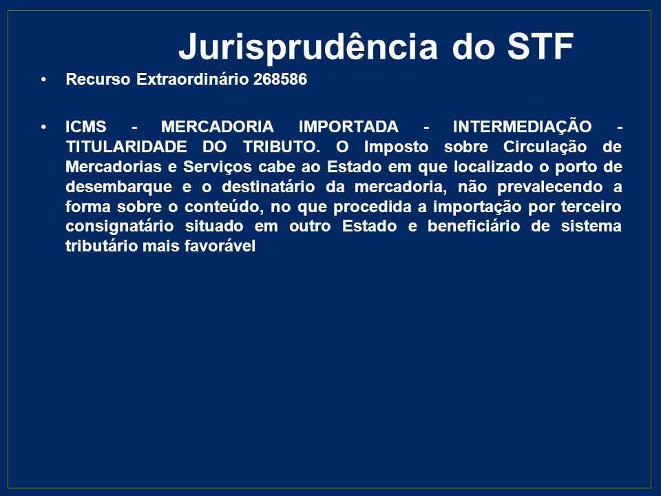 Jurisprudência do STF Recurso Extraordinário 268586 ICMS - MERCADORIA IMPORTADA - INTERMEDIAÇÃO - TITULARIDADE DO TRIBUTO. O Imposto sobre Circulação