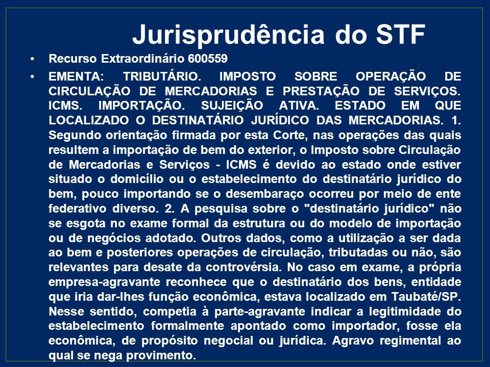 Jurisprudência do STF Recurso Extraordinário 600559 EMENTA: TRIBUTÁRIO. IMPOSTO SOBRE OPERAÇÃO DE CIRCULAÇÃO DE MERCADORIAS E PRESTAÇÃO DE SERVIÇOS. I
