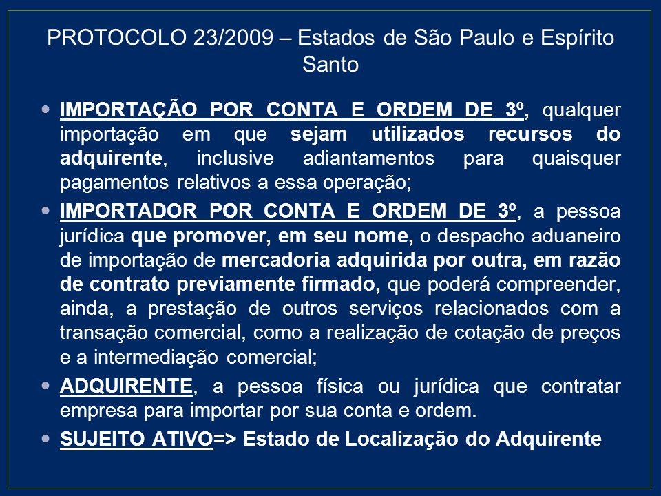 PROTOCOLO 23/2009 – Estados de São Paulo e Espírito Santo IMPORTAÇÃO POR CONTA E ORDEM DE 3º, qualquer importação em que sejam utilizados recursos do