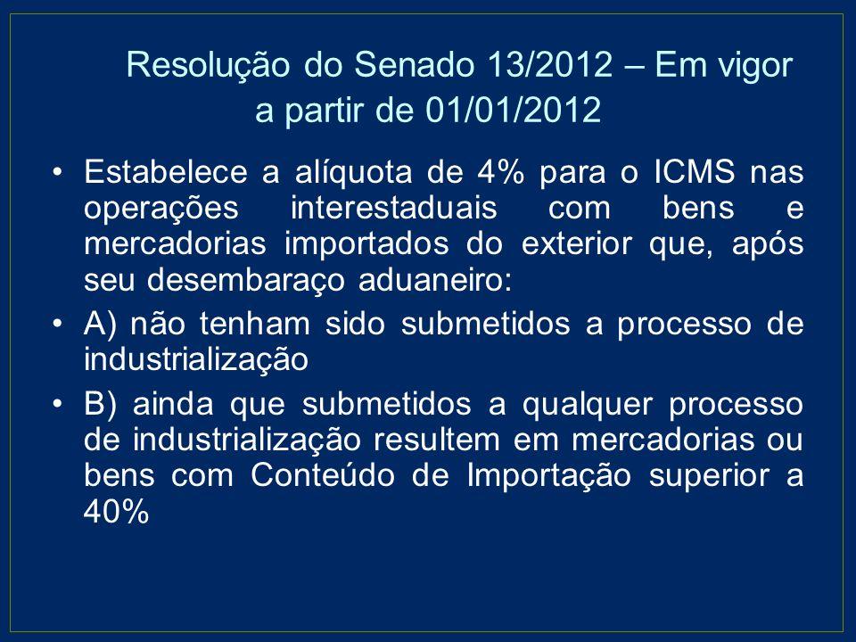 Resolução do Senado 13/2012 – Em vigor a partir de 01/01/2012 Estabelece a alíquota de 4% para o ICMS nas operações interestaduais com bens e mercador