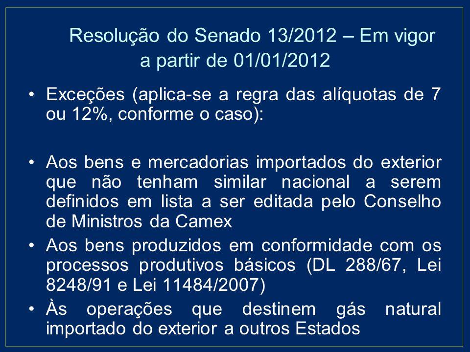 Resolução do Senado 13/2012 – Em vigor a partir de 01/01/2012 Exceções (aplica-se a regra das alíquotas de 7 ou 12%, conforme o caso): Aos bens e merc