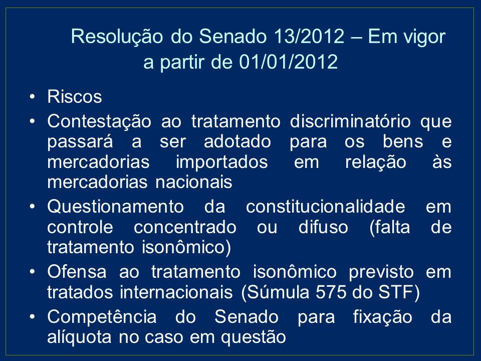 Resolução do Senado 13/2012 – Em vigor a partir de 01/01/2012 Riscos Contestação ao tratamento discriminatório que passará a ser adotado para os bens