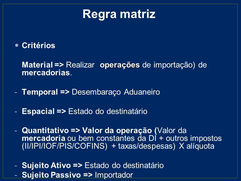 Regra matriz Critérios operações Material => Realizar operações de importação) de mercadorias. -Temporal => Desembaraço Aduaneiro -Espacial => Estado