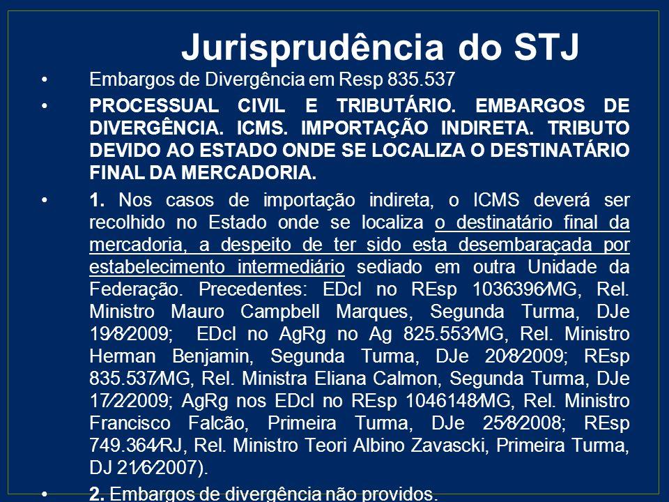 Jurisprudência do STJ Embargos de Divergência em Resp 835.537 PROCESSUAL CIVIL E TRIBUTÁRIO. EMBARGOS DE DIVERGÊNCIA. ICMS. IMPORTAÇÃO INDIRETA. TRIBU