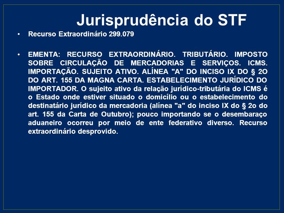 Jurisprudência do STF Recurso Extraordinário 299.079 EMENTA: RECURSO EXTRAORDINÁRIO. TRIBUTÁRIO. IMPOSTO SOBRE CIRCULAÇÃO DE MERCADORIAS E SERVIÇOS. I