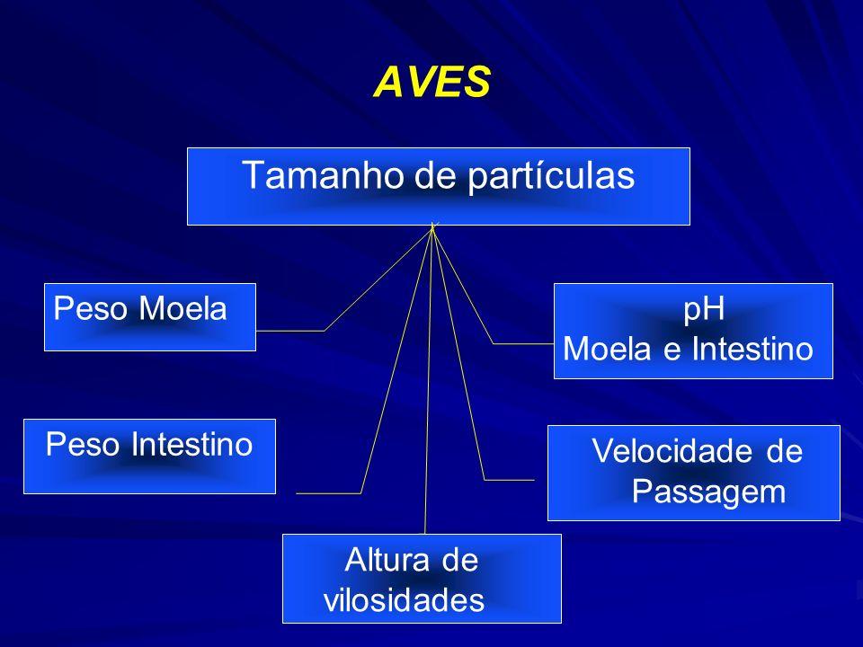 AVES Tamanho de partículas Peso Moela Peso Intestino pH Moela e Intestino Velocidade de Passagem Altura de vilosidades