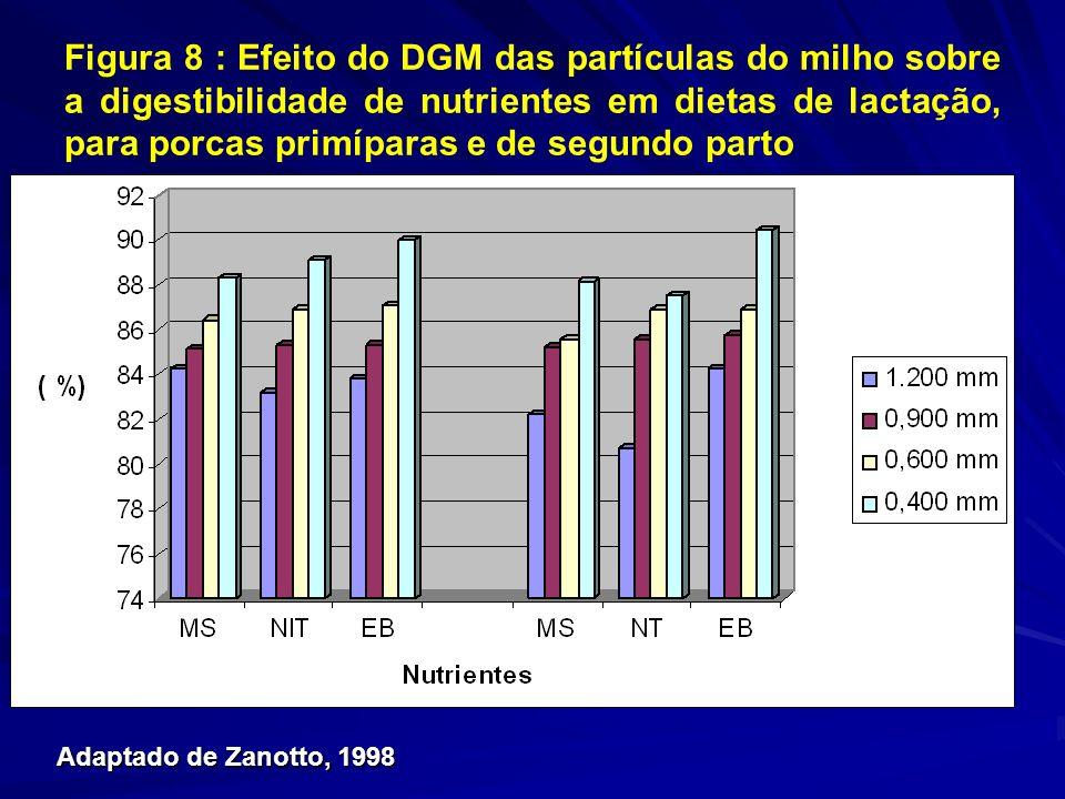 Figura 8 : Efeito do DGM das partículas do milho sobre a digestibilidade de nutrientes em dietas de lactação, para porcas primíparas e de segundo parto DGM ( m) 1200 900 600 400 Matéria Seca (%)* 84,2 85,1 86,4 88,3 Nitrogênio (%)* 83,2 85,3 86,9 89,1 Energia Bruta (%)* 83,8 85,3 87,1 90,0 *L *L inear (P<0,01) Adaptado de ZANOTTO, 1998 Adaptado de Zanotto, 1998