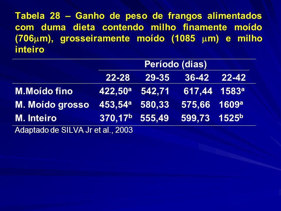 Tabela 28 – Ganho de peso de frangos alimentados com duma dieta contendo milho finamente moído (706 m), grosseiramente moído (1085 m) e milho inteiro