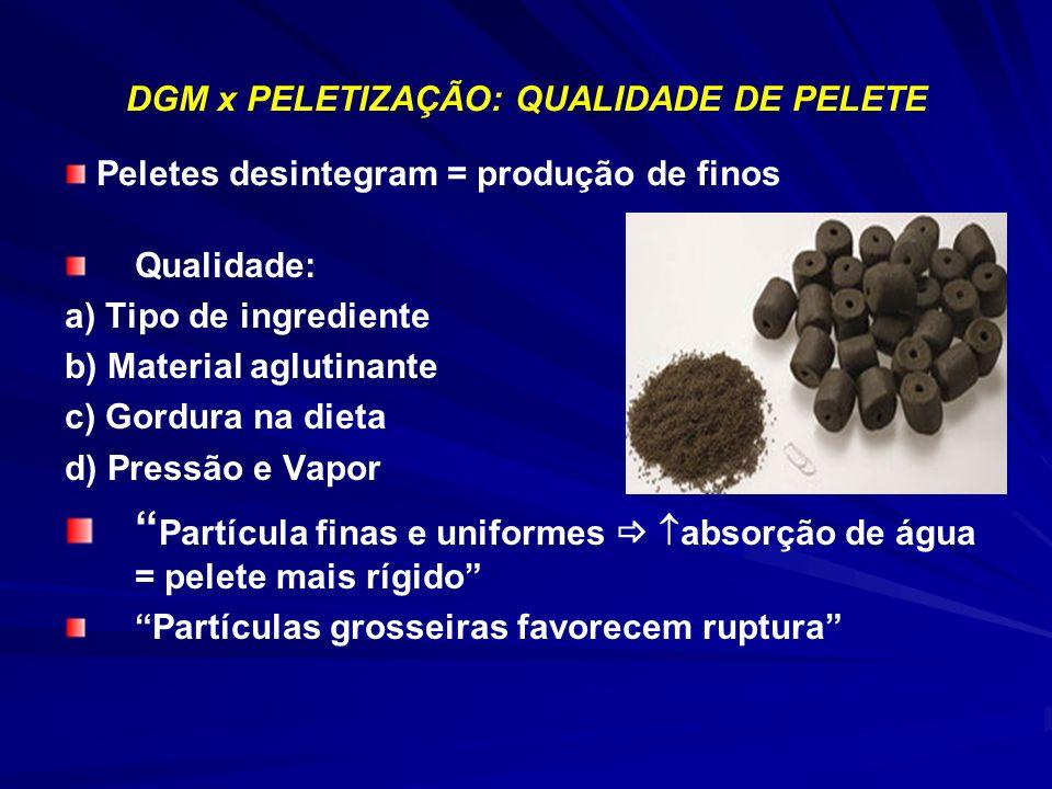 DGM x PELETIZAÇÃO: QUALIDADE DE PELETE Qualidade: a) Tipo de ingrediente b) Material aglutinante c) Gordura na dieta d) Pressão e Vapor Partícula fina
