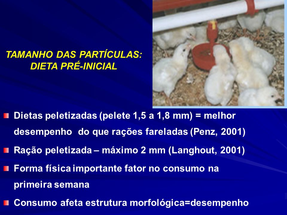 Dietas peletizadas (pelete 1,5 a 1,8 mm) = melhor desempenho do que rações fareladas (Penz, 2001) Ração peletizada – máximo 2 mm (Langhout, 2001) Forma física importante fator no consumo na primeira semana Consumo afeta estrutura morfológica=desempenho TAMANHO DAS PARTÍCULAS: DIETA PRÉ-INICIAL