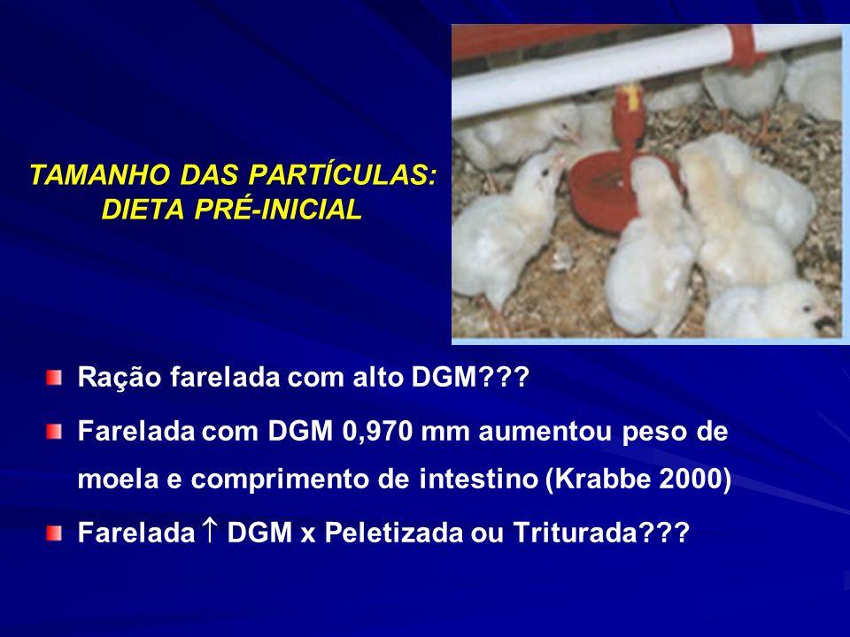 Ração farelada com alto DGM??? Farelada com DGM 0,970 mm aumentou peso de moela e comprimento de intestino (Krabbe 2000) Farelada DGM x Peletizada ou
