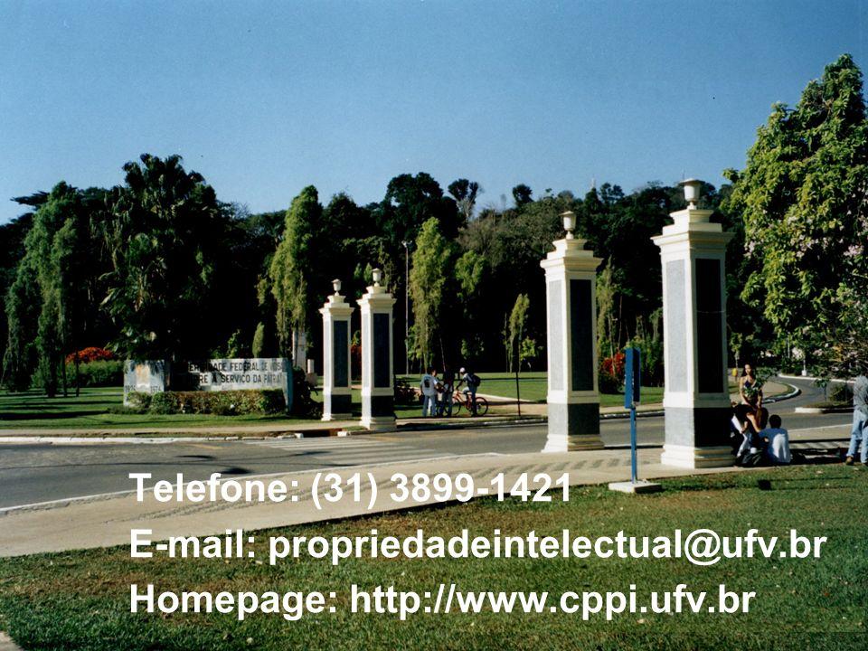 Telefone: (31) 3899-1421 E-mail: propriedadeintelectual@ufv.br Homepage: http://www.cppi.ufv.br