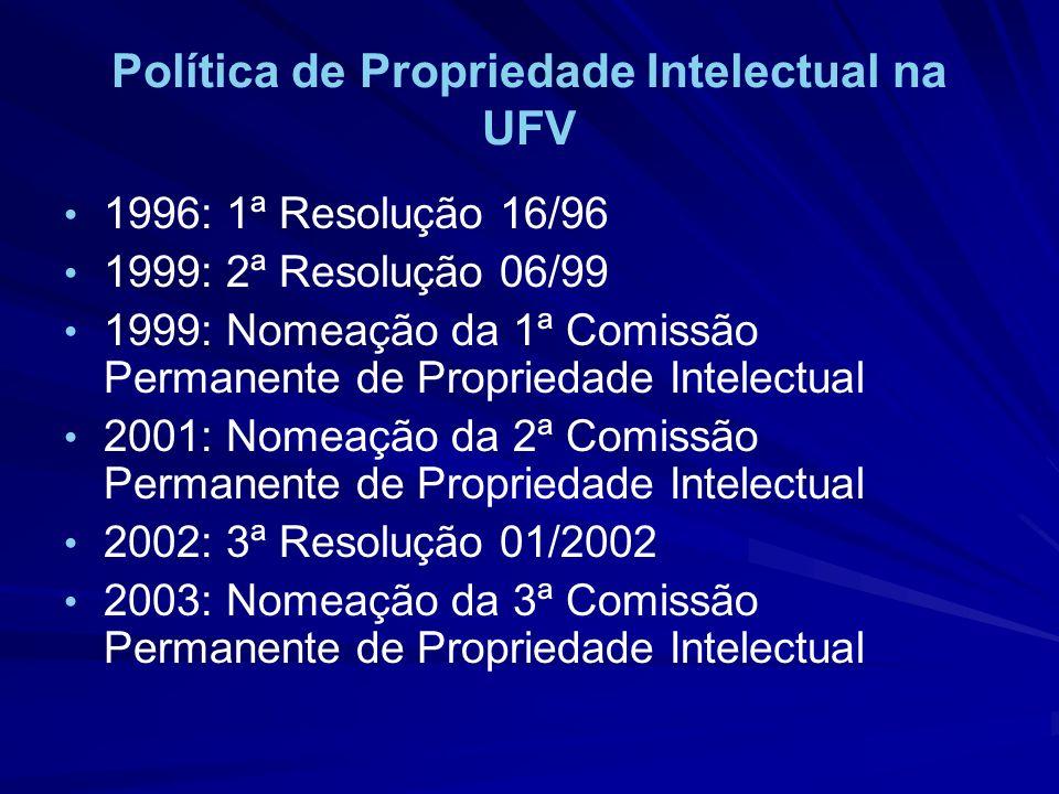 Política de Propriedade Intelectual na UFV 1996: 1ª Resolução 16/96 1999: 2ª Resolução 06/99 1999: Nomeação da 1ª Comissão Permanente de Propriedade I