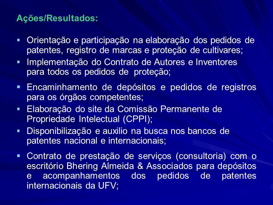Ações/Resultados: Orientação e participação na elaboração dos pedidos de patentes, registro de marcas e proteção de cultivares; Implementação do Contr