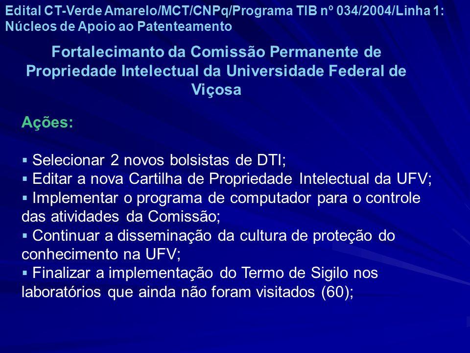 Edital CT-Verde Amarelo/MCT/CNPq/Programa TIB nº 034/2004/Linha 1: Núcleos de Apoio ao Patenteamento Fortalecimanto da Comissão Permanente de Propried