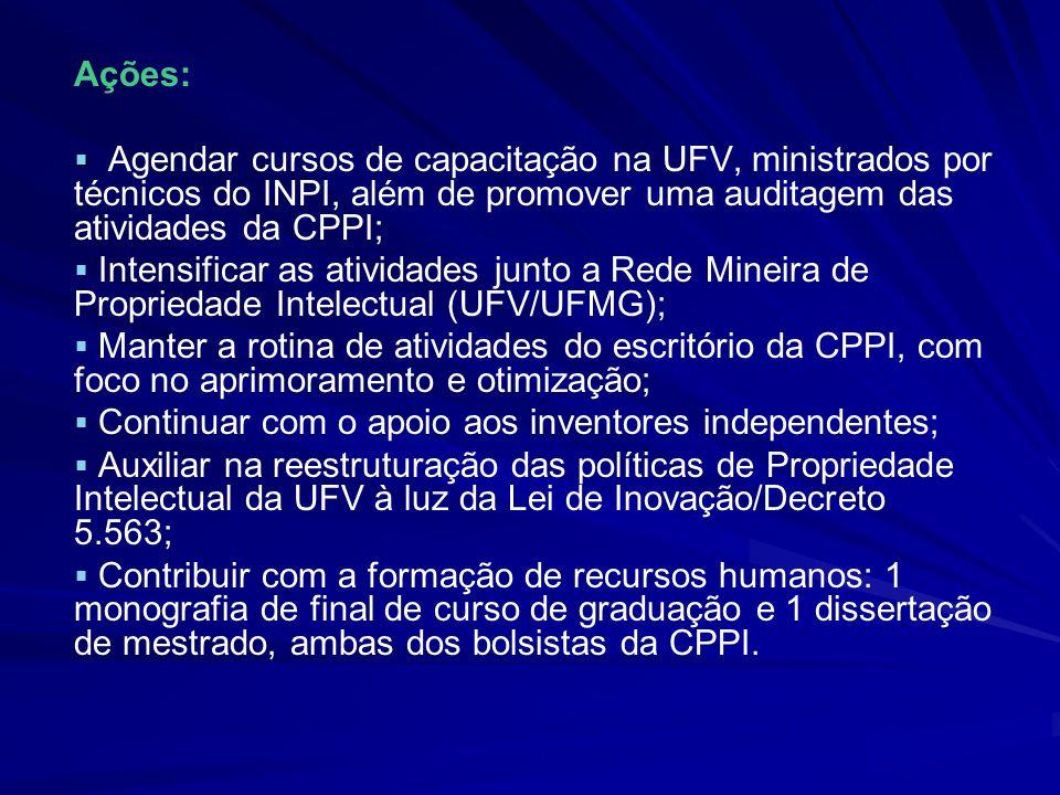 Ações: Agendar cursos de capacitação na UFV, ministrados por técnicos do INPI, além de promover uma auditagem das atividades da CPPI; Intensificar as
