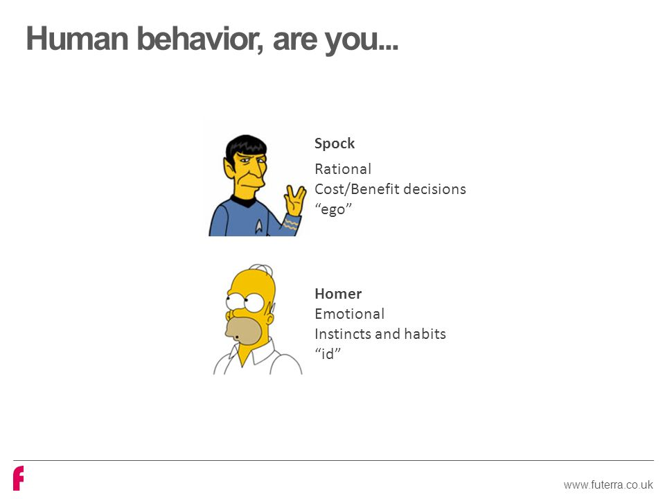 Spock Rational Cost/Benefit decisions ego Homer Emotional Instincts and habits id Human behavior, are you...