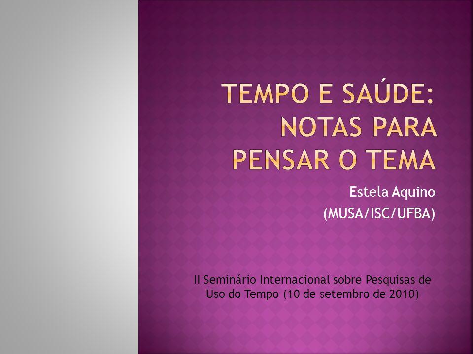 Estela Aquino (MUSA/ISC/UFBA) II Seminário Internacional sobre Pesquisas de Uso do Tempo (10 de setembro de 2010)