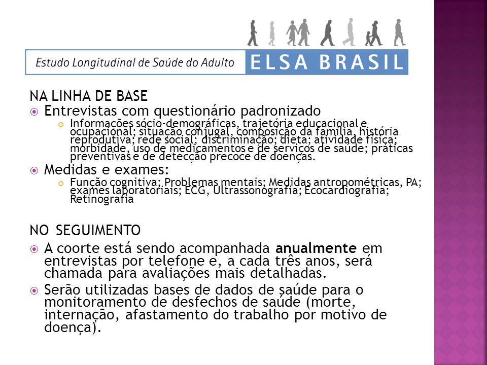 NA LINHA DE BASE Entrevistas com questionário padronizado Informações sócio-demográficas, trajetória educacional e ocupacional; situação conjugal, com