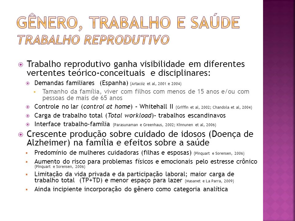 Trabalho reprodutivo ganha visibilidade em diferentes vertentes teórico-conceituais e disciplinares: Demandas familiares (Espanha) (Artacóz et al, 200