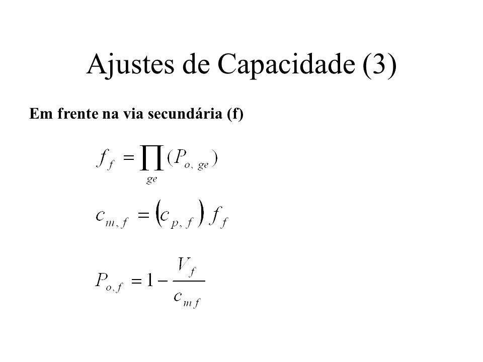 Ajustes de Capacidade (3) Em frente na via secundária (f)