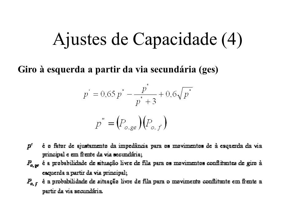 Ajustes de Capacidade (4) Giro à esquerda a partir da via secundária (ges)