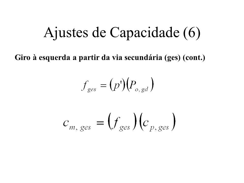 Ajustes de Capacidade (6) Giro à esquerda a partir da via secundária (ges) (cont.)