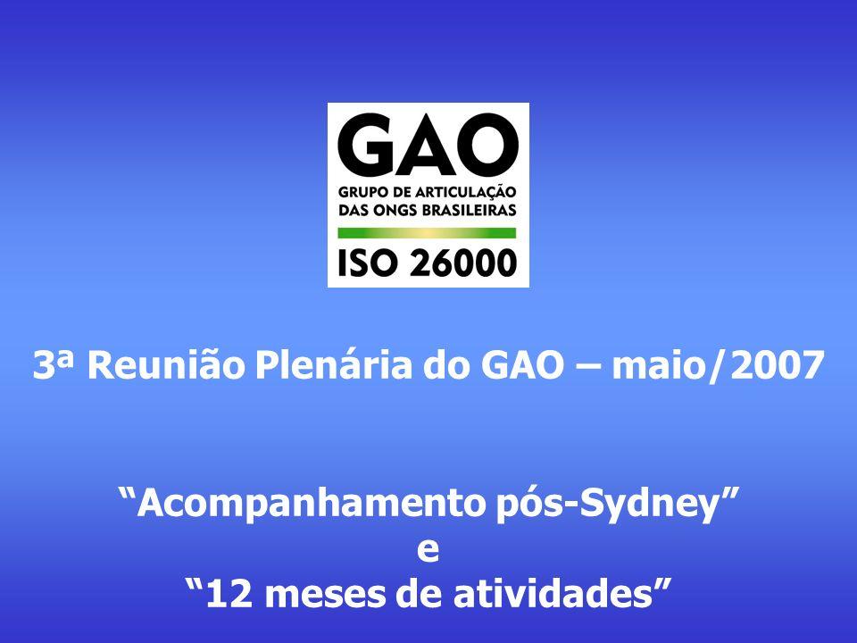 Agenda - 3ª Plenária do GAO- ISO 26000 - 14/05/2007 17h00 – 17h20: Abertura, acomodação e apresentação dos participantes 17h20 – 19h20: 1) AÇÃO DO GAO E CONSTRUÇÃO DA ISO 26000 - Relato de atividades do GAO - Atividades realizadas desde a constituição do Grupo - Principais resultados obtidos - Relato e análise do andamento da construção da ISO 26000 - Atividades realizadas pelo WG ISO26000 (de Lisboa a Sydney) - Processo em andamento no WG ISO26000 (Sydney a Viena) - Principais resultados obtidos - Avaliação dos aspectos técnicos e políticos da ISO 26000 e da ação do GAO - Implicações da construção da ISO 26000 no cenário internacional - Implicações da construção da ISO 26000 no cenário nacional - Potencial de influência do GAO nos cenários internacional e nacional - Discussão e aprovação de diretrizes estratégicas para ação do GAO - Objetivos e diretrizes para ação junto ao WG ISO 26000 - Objetivos e diretrizes para ação junto à ABNT e Comitê Espelho brasileiro - Objetivos e diretrizes para ação junto às ONGs brasileiras 19h20 – 20h20: 2) ESCOLHA DE NOVOS MEMBROS PARA OS ÓRGÃOS DE GESTÃO - Encaminhamento do processo de escolha de novos membros para os órgãos de gestão do GAO - Apresentação das candidaturas para os cargos disponíveis - Escolha dos ocupantes para os cargos disponíveis 20h20 – 21h00: 3) OUTROS ASSUNTOS E ENCERRAMENTO