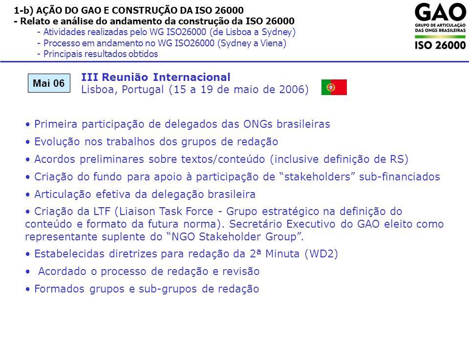 1-b) AÇÃO DO GAO E CONSTRUÇÃO DA ISO 26000 - Relato e análise do andamento da construção da ISO 26000 - Atividades realizadas pelo WG ISO26000 (de Lisboa a Sydney) - Processo em andamento no WG ISO26000 (Sydney a Viena) - Principais resultados obtidos III Reunião Internacional Lisboa, Portugal (15 a 19 de maio de 2006) Mai 06 Primeira participação de delegados das ONGs brasileiras Evolução nos trabalhos dos grupos de redação Acordos preliminares sobre textos/conteúdo (inclusive definição de RS) Criação do fundo para apoio à participação de stakeholders sub-financiados Articulação efetiva da delegação brasileira Criação da LTF (Liaison Task Force - Grupo estratégico na definição do conteúdo e formato da futura norma).