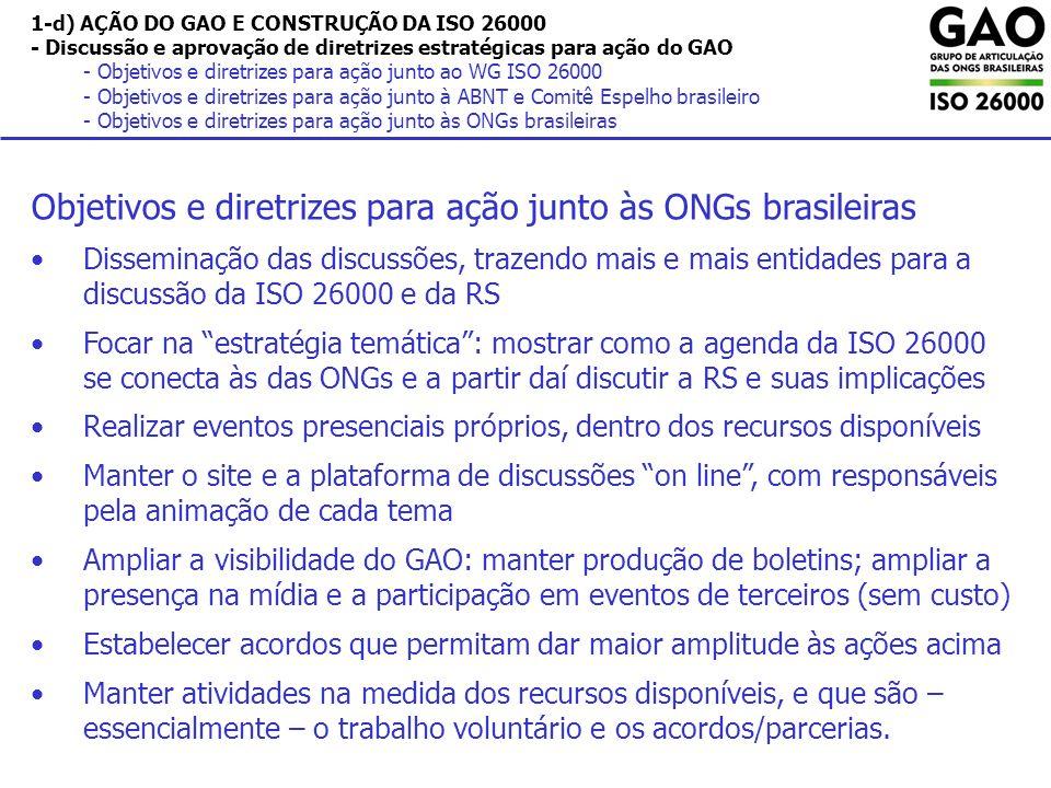 1-d) AÇÃO DO GAO E CONSTRUÇÃO DA ISO 26000 - Discussão e aprovação de diretrizes estratégicas para ação do GAO - Objetivos e diretrizes para ação junto ao WG ISO 26000 - Objetivos e diretrizes para ação junto à ABNT e Comitê Espelho brasileiro - Objetivos e diretrizes para ação junto às ONGs brasileiras Objetivos e diretrizes para ação junto às ONGs brasileiras Disseminação das discussões, trazendo mais e mais entidades para a discussão da ISO 26000 e da RS Focar na estratégia temática: mostrar como a agenda da ISO 26000 se conecta às das ONGs e a partir daí discutir a RS e suas implicações Realizar eventos presenciais próprios, dentro dos recursos disponíveis Manter o site e a plataforma de discussões on line, com responsáveis pela animação de cada tema Ampliar a visibilidade do GAO: manter produção de boletins; ampliar a presença na mídia e a participação em eventos de terceiros (sem custo) Estabelecer acordos que permitam dar maior amplitude às ações acima Manter atividades na medida dos recursos disponíveis, e que são – essencialmente – o trabalho voluntário e os acordos/parcerias.