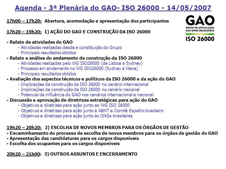 1º Seminário Temático GAO Agenda Socioambiental da ISO 26000