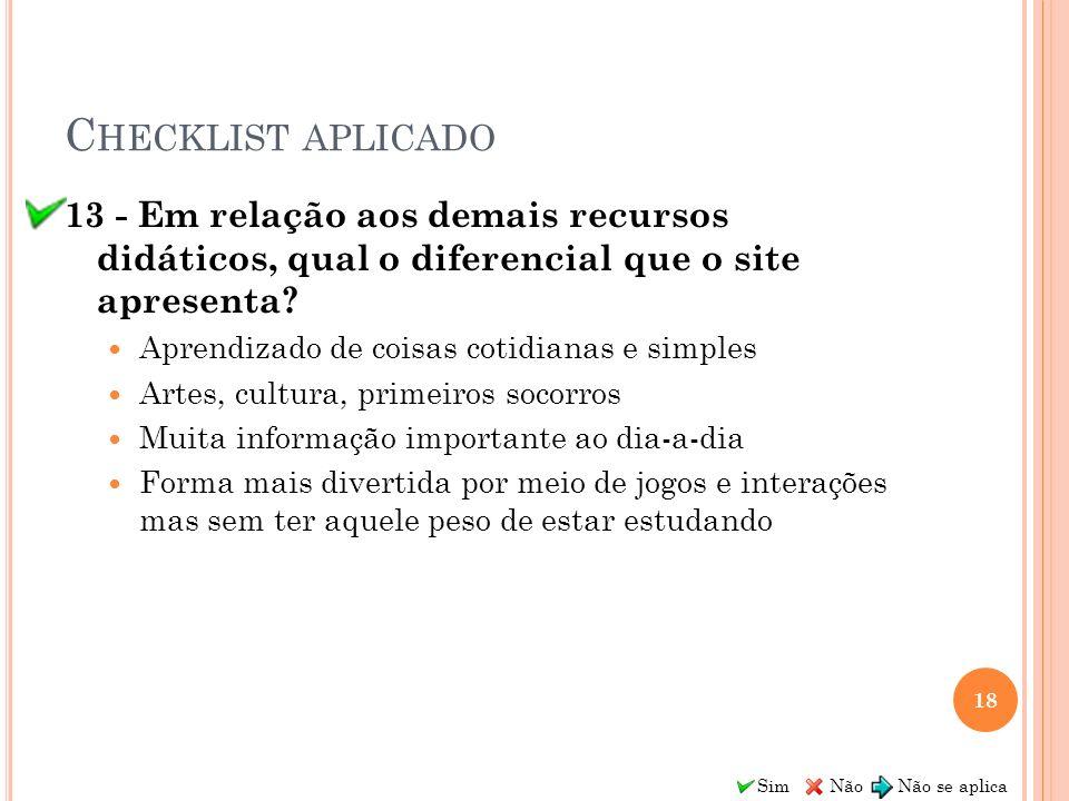 Sim Não Não se aplica C HECKLIST APLICADO 13 - Em relação aos demais recursos didáticos, qual o diferencial que o site apresenta? Aprendizado de coisa