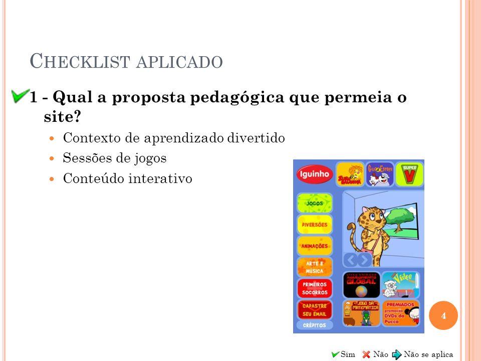Sim Não Não se aplica C HECKLIST APLICADO 1 - Qual a proposta pedagógica que permeia o site? Contexto de aprendizado divertido Sessões de jogos Conteú
